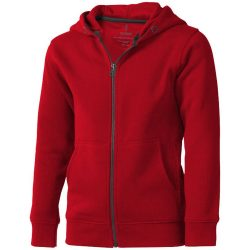 Arora hooded full zip kids sweater, Kids, Knit of 80% Cotton and 20% Polyester, brushed on the inside, Red, 140