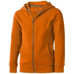 Arora hooded full zip kids sweater, Kids, Knit of 80% Cotton and 20% Polyester, brushed on the inside, Orange, 116