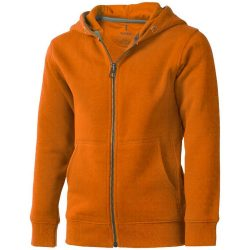 Arora hooded full zip kids sweater, Kids, Knit of 80% Cotton and 20% Polyester, brushed on the inside, Orange, 140