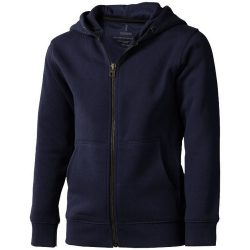 Arora hooded full zip kids sweater, Kids, Knit of 80% Cotton and 20% Polyester, brushed on the inside, Navy, 128