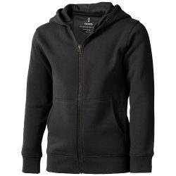 Arora hooded full zip kids sweater, Kids, Knit of 80% Cotton and 20% Polyester, brushed on the inside, Anthracite, 116