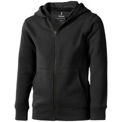 Arora hooded full zip kids sweater, Kids, Knit of 80% Cotton and 20% Polyester, brushed on the inside, Anthracite, 140