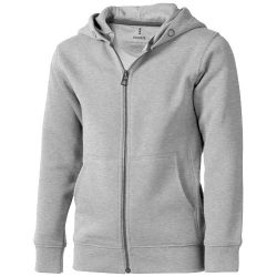 Arora hooded full zip kids sweater, Kids, Knit of 80% Cotton and 20% Polyester, brushed on the inside, Grey melange, 116