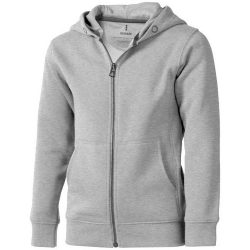 Arora hooded full zip kids sweater, Kids, Knit of 80% Cotton and 20% Polyester, brushed on the inside, Grey melange, 128