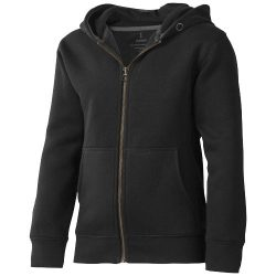 Arora hooded full zip kids sweater, Kids, Knit of 80% Cotton and 20% Polyester, brushed on the inside, solid black, 116