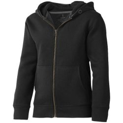 Arora hooded full zip kids sweater, Kids, Knit of 80% Cotton and 20% Polyester, brushed on the inside, solid black, 128