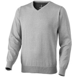 Spruce V-neck pullover, Male, Flat knit of 60% Cotton and 40% Polyester 12 Gauge, Grey melange, XL