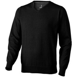 Spruce V-neck pullover, Male, Flat knit of 60% Cotton and 40% Polyester 12 Gauge, solid black, XS