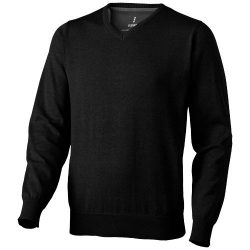 Spruce V-neck pullover, Male, Flat knit of 60% Cotton and 40% Polyester 12 Gauge, solid black, M