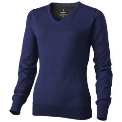 Spruce ladies V-neck pullover, Female, Flat knit of 60% Cotton and 40% Polyester 12 Gauge, Navy, M