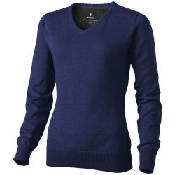Spruce ladies V-neck pullover, Female, Flat knit of 60% Cotton and 40% Polyester 12 Gauge, Navy, L