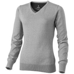 Spruce ladies V-neck pullover, Female, Flat knit of 60% Cotton and 40% Polyester 12 Gauge, Grey melange, L