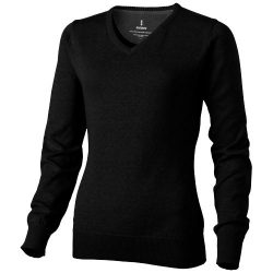 Spruce ladies V-neck pullover, Female, Flat knit of 60% Cotton and 40% Polyester 12 Gauge, solid black, M