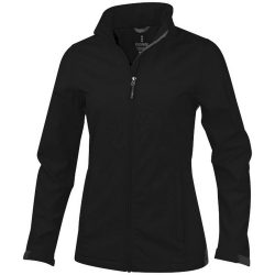 Maxson softshell ladies jacket, Female, Mechanical stretch woven of 100% Polyester bonded to micro fleece of 100% Polyester with waterproof, breathable membrane and water-repellent finish, solid black, XS