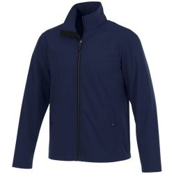 Karmine softshell jacket, Male, Mechanical stretch woven of 100% Polyester bonded to 100% Polyester interlock knit with waterproof, breathable membrane and water-repellent finish, Navy, L
