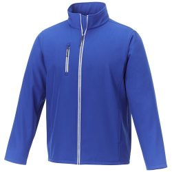 Orion men's softshell jacket, Mechanical stretch woven of 100% Polyester bonded with 100% Polyester micro fleece, Blue, XS