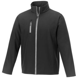Orion men's softshell jacket, Mechanical stretch woven of 100% Polyester bonded with 100% Polyester micro fleece,  solid black, L