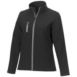 Orion women's softshell jacket, Mechanical stretch woven of 100% Polyester bonded with 100% Polyester micro fleece,  solid black, L