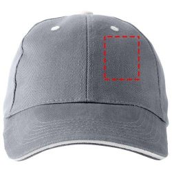 Brent 6 panel sandwich cap, Unisex, Cotton, steel grey