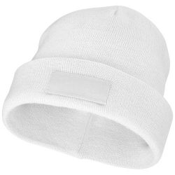 Boreas beanie with patch, Unisex, Single layer beanie with double folded edge 1x1 Rib knit of 100% Acrylic Patch of 100% Polyester, White