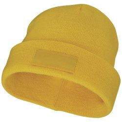 Boreas beanie with patch, Unisex, Single layer beanie with double folded edge 1x1 Rib knit of 100% Acrylic Patch of 100% Polyester, Yellow