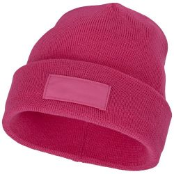 Boreas beanie with patch, Unisex, Single layer beanie with double folded edge 1x1 Rib knit of 100% Acrylic Patch of 100% Polyester, Magenta