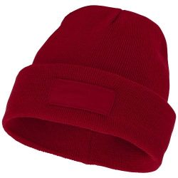 Boreas beanie with patch, Unisex, Single layer beanie with double folded edge 1x1 Rib knit of 100% Acrylic Patch of 100% Polyester, Red