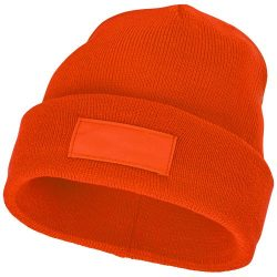 Boreas beanie with patch, Unisex, Single layer beanie with double folded edge 1x1 Rib knit of 100% Acrylic Patch of 100% Polyester, Orange