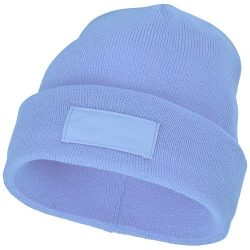 Boreas beanie with patch, Unisex, Single layer beanie with double folded edge 1x1 Rib knit of 100% Acrylic Patch of 100% Polyester, Light blue