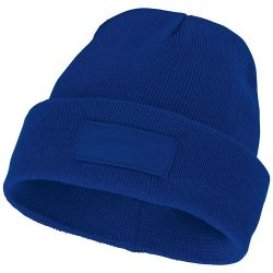 Boreas beanie with patch, Unisex, Single layer beanie with double folded edge 1x1 Rib knit of 100% Acrylic Patch of 100% Polyester, Blue