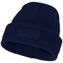 Boreas beanie with patch, Unisex, Single layer beanie with double folded edge 1x1 Rib knit of 100% Acrylic Patch of 100% Polyester, Navy