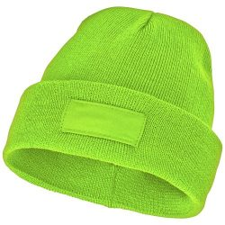 Boreas beanie with patch, Unisex, Single layer beanie with double folded edge 1x1 Rib knit of 100% Acrylic Patch of 100% Polyester, Apple Green