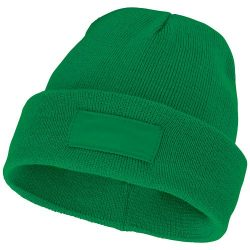 Boreas beanie with patch, Unisex, Single layer beanie with double folded edge 1x1 Rib knit of 100% Acrylic Patch of 100% Polyester, Fern green