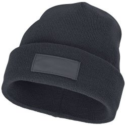 Boreas beanie with patch, Unisex, Single layer beanie with double folded edge 1x1 Rib knit of 100% Acrylic Patch of 100% Polyester, Storm Grey