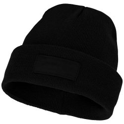 Boreas beanie with patch, Unisex, Single layer beanie with double folded edge 1x1 Rib knit of 100% Acrylic Patch of 100% Polyester,  solid black