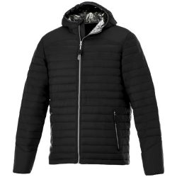 Silverton insulated jacket, Male, 100% Nylon dull cire 380T woven, water repellent and downproof 100% Polyester faux down filling, solid black, XS