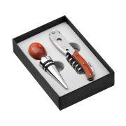 Set 2 accesorii vin in cutie cadou, 95x140x30 mm, Everestus, 20IUN1877, Otel, Lemn, Maro