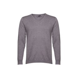 MILAN. Men's V-neck jumper, Male, 70% cotton and 30% polyamide: 220 g/m², Heather grey, XXL