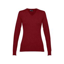 MILAN WOMEN. Women's V-neck jumper, Female, 70% cotton and 30% polyamide: 220 g/m², Burgundy, L