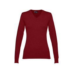 MILAN WOMEN. Women's V-neck jumper, Female, 70% cotton and 30% polyamide: 220 g/m², Burgundy, S