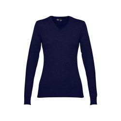 MILAN WOMEN. Women's V-neck jumper, Female, 70% cotton and 30% polyamide: 220 g/m², Navy blue, L