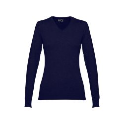 MILAN WOMEN. Women's V-neck jumper, Female, 70% cotton and 30% polyamide: 220 g/m², Navy blue, XL