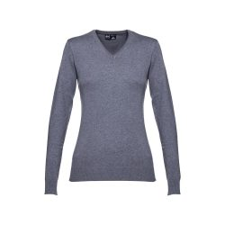 MILAN WOMEN. Women's V-neck jumper, Female, 70% cotton and 30% polyamide: 220 g/m², Heather grey, L