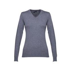 MILAN WOMEN. Women's V-neck jumper, Female, 70% cotton and 30% polyamide: 220 g/m², Heather grey, S