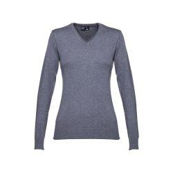 MILAN WOMEN. Women's V-neck jumper, Female, 70% cotton and 30% polyamide: 220 g/m², Heather grey, XXL