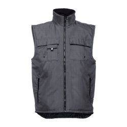 STOCKHOLM. Workwear padded bodywarmer, Unisex, 100% polyester, Grey, M