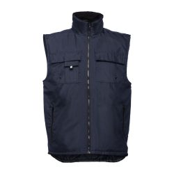 STOCKHOLM. Workwear padded bodywarmer, Unisex, 100% polyester, Navy blue, L