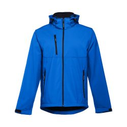 ZAGREB. Men's softshell with removable hood, Male, 96% polyester and 4% spandex (2 layers): 280 g/m², Royal blue, L
