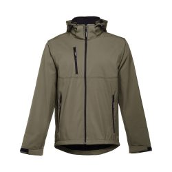ZAGREB. Men's softshell with removable hood, Male, 96% polyester and 4% spandex (2 layers): 280 g/m², Army green, L