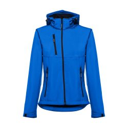 ZAGREB WOMEN. Women's softshell with removable hood, Female, 96% polyester and 4% spandex (2 layers): 280 g/m², Royal blue, S